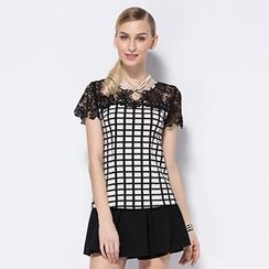 O.SA - Lace-Panel Plaid Top