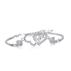 Zundiao - Sterling Silver Rhinestone Heart Charm Bracelet