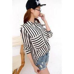 Colorful Shop - Striped Chiffon Shirt