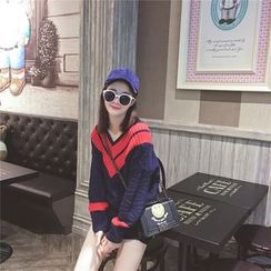 Sienne - V-neck Colour Block Knit Top