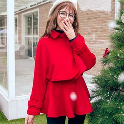 Dimosqisi - 套裝:羊毛混紡無袖裙衣 + 短款夾克