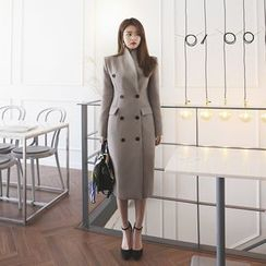 DABAGIRL - Shawl-Collar Buttoned Slim-Fit Long Coat