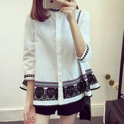 lilygirl - Patterned 3/4 Sleeve Stand Collar Blouse
