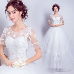 Angel Bridal - Short-Sleeve Lace Long Train Wedding Dress