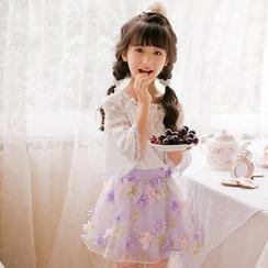 糖果雨 - 小童长袖露肩上衣