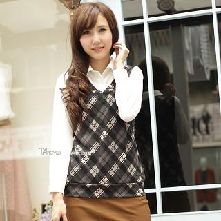 TANGYIZI - Inset Shirt Plaid Vest