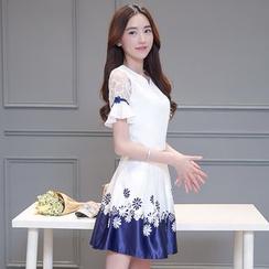 Emeline - Set: Embroidered Ruffle Trim Short-Sleeve Top + Printed A-Line Skirt