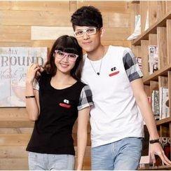 Porspor - Short-Sleeve Check-Panel Couple T-Shirt