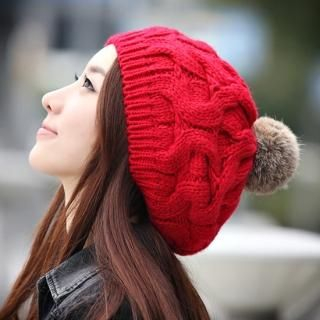 Pompom Accent Cable Knit Beanie