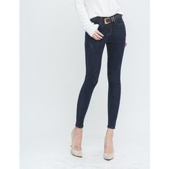 GUMZZI - Brushed-Fleece Skinny Jeans