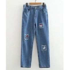 Citree - Embroidered Straight-Cut Jeans