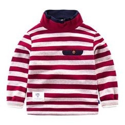 DEARIE - Kids Striped Mock Neck Long Sleeve T-Shirt