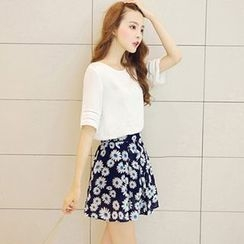 Lovebirds - Set: Elbow-Sleeve Top + Floral A-Line Skirt