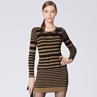 O.SA - Lace-Trim Stripe Knit Dress