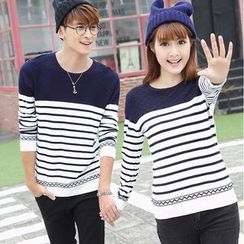 NoonSun - Couple Matching Striped Knit Pullover