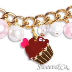 Sweet & Co. - Mini Gold Chocolate Cupcake Swarovski Crystal Charm Bracelet