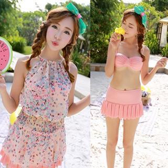 Sweet Splash - Set: Bikini Top + Pleated Swimskirt + Floral Cover-Up