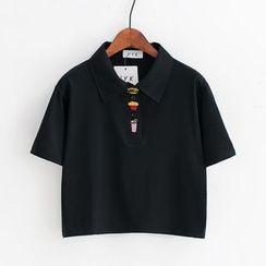 Sunny Day - 快餐食物刺繡短袖T恤