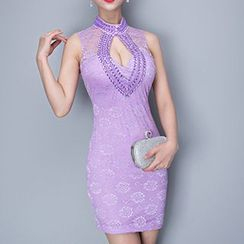 Posh Bride - Rhinestone Lace Cut Out Front Sleeveless Qipao