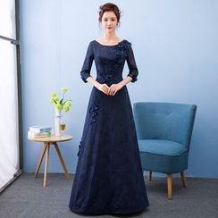 Loree - Elbow-Sleeve Evening Dress