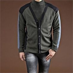 THE COVER - V-Neck Color-Block Cardigan