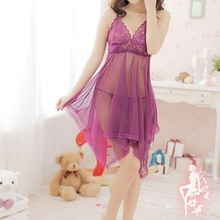 Eros - Set: Lace Sleep Dress + Thongs