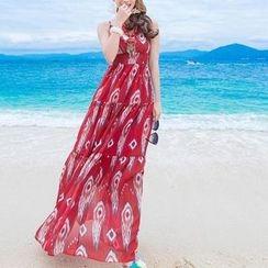 Isadora - V-Neck Spaghetti Strap Tiered Maxi Dress
