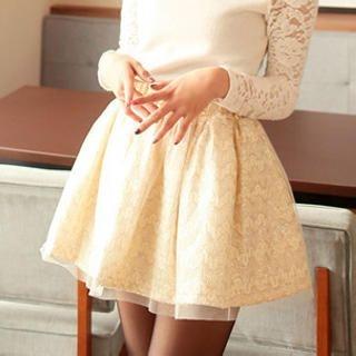 Tokyo Fashion - Mesh-Overlay Houndstooth Skirt