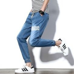 Besto - Lettering Washed Jeans