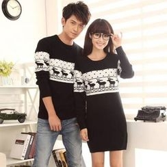 Lovebirds - Couple Printed Sweater / Printed Knit Dress