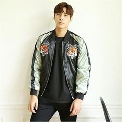BYMONO - Raglan-Sleeve Tiger-Embroidered Zip Jacket