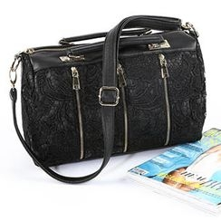 O.SA - Crochet-Overlay Zip Boston Bag