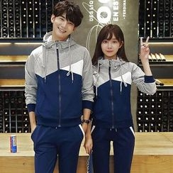 belle epoque - Couple Matching Set: Color Panel Hooded Jacket + Drawstring Sweatpants