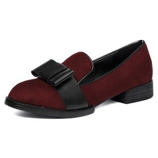 yeswalker - Bow Accent Faux Suede Loafers