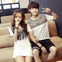 TOOI - Couple Matching Patterned Short Sleeve T-Shirt / Fringed Short Sleeve T-Shirt Dress