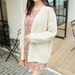 ZIZIBEZIRONG - Drop-Shoulder Chunky-Knit Cardigan