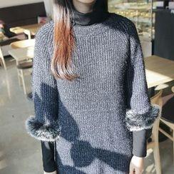 Envy Look - Turtle-Neck Brushed-Fleece Lined Top