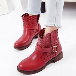 Mancienne - Cutout Buckled Ankle Boots