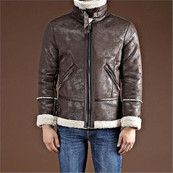 THE COVER - Funnel-Neck Faux-Shearling Zip Jacket