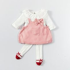 MOM Kiss - Baby Set: Long Sleeve Top + Dotted Pinafore Dress