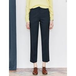 FROMBEGINNING - Pinstriped Straight-Cut Pants