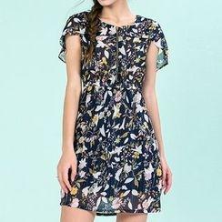 Strawberry Flower - Floral Print Chiffon Dress
