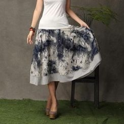 Floral Elegance - Printed Maxi Skirt