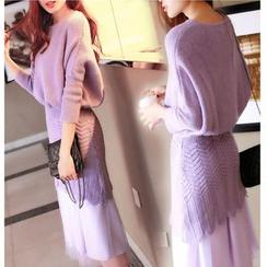 MAVIS - 套装: 碎褶腰长款毛衣 + 网纱连衣裙