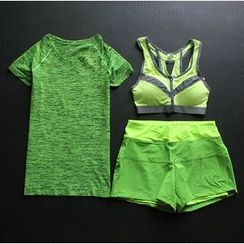 Cara Cloud - Set: Short Sleeve Sports T-Shirt + Sports Bra + Shorts