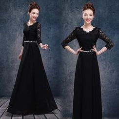 Bridal Workshop - 3/4-Sleeve Sheath Lace Evening Gown