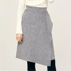 MAGJAY - Wool Blend Ruffled-Trim Skirt
