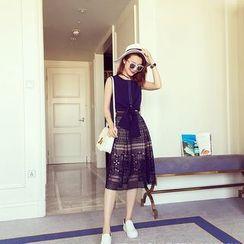 Ashlee - Set: Tie Hem Sleeveless Top + Lace Midi Skirt