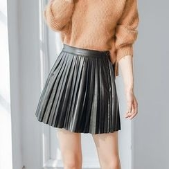 AC - Faux-Leather Pleated A-Line Skirt