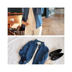 LEELIN - Dual-Pocket Denim Shirt